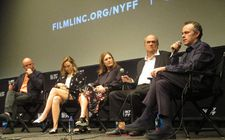 Nick Hornby, Saoirse Ronan, producer Finola Dwyer, Colm Tóibín and John Crowley at the New York Film Festival