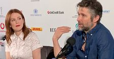 Meet the media … Julianne Moore and Bart Freundlich at the Karlovy Vary International Film Festival