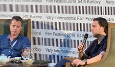 Chair Michael Gubbin (left) and Sony's Dylan Leiner at the talks session at Karlovy Vary International Film Festival