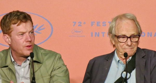 Actor Kris Hitchen and director Ken Loach at the Cannes Film Festival for the world premiere of Sorry We Missed You