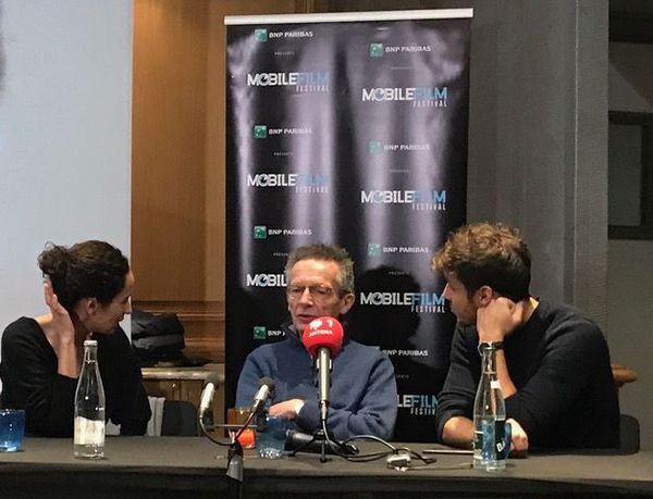 Patrice Leconte at the launch of this year's Mobile Film Festival in Paris, flanked by fellow jurors Amelle Chahbi and Ruben Alves