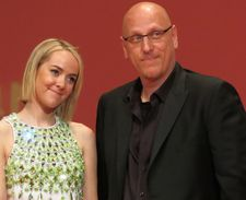 Jena Malone from Hunger Games and director Oren Moverman on stage at the opening of the 50th Edition of the Karlovy Vary International Film Festival.