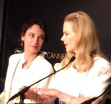 French actress Jeanne Balibar and Nicole Kidman share the media stage at the Cannes Film Festival