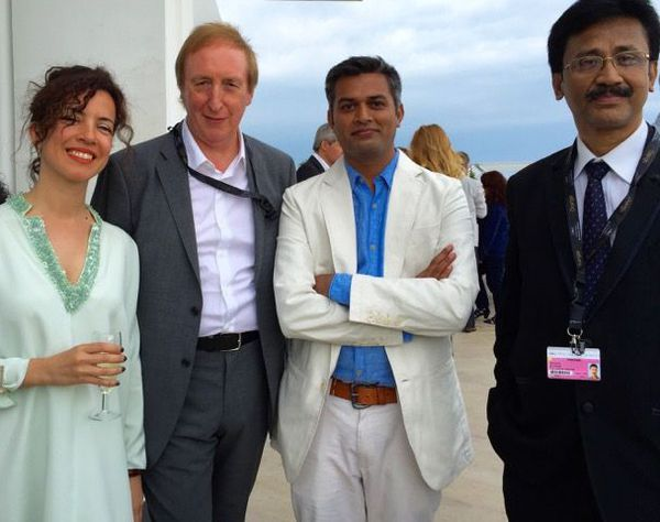 Part of the Fipresci jury in Cannes who announced their awards today (23 May) - from left Muge Turan from Turkey, Richard Mowe (from UK), awarding Indian director of Masaan Neeraj Ghaywan and journalist and critic Bitopan Borborah from India.