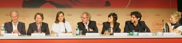 Cannes opening film line-up (from left): Hippolyte Girardot, Mathieu Amalric, Marion Cotillard, Arnaud Desplechin, Charlotte Gainsbourg, Louis Garrel and Alba Rohrwacher in Ismael's Ghosts, opening film at this year's Cannes Film Festival.