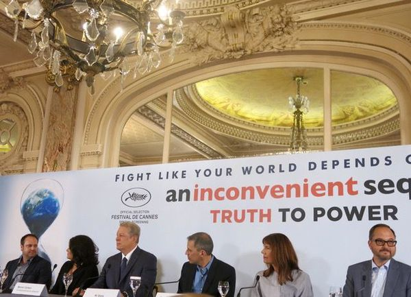 Al Gore and filmmakers talk to the press about climate change in Cannes