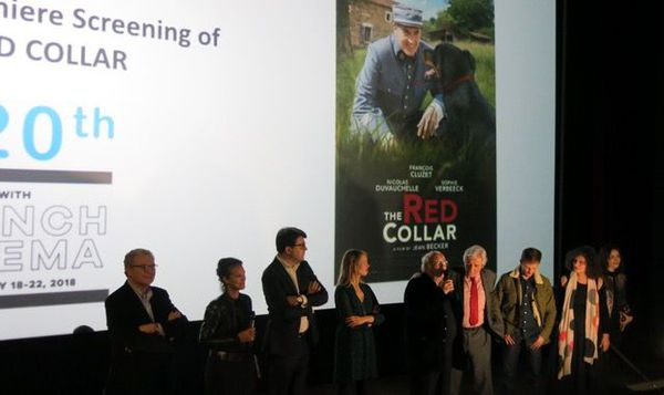 The film team from The Red Collar line up for the premiere screening at the Rendez-vous with French Cinema in Paris