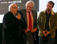 On stage at the opening of the Unifrance Rendez-vous with French Cinema: director Jean Becker, writer Jean-Loup Dabadie and actor Nicolas Duvauchelle