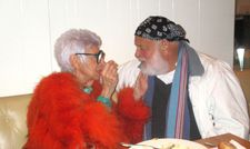 Iris Apfel flirting with Bruce Weber at the Southgate after party