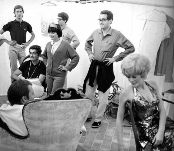 Jacques Demy, Agnès Varda, Michel Legrand, and Catherine Deneuve on the set of The Young Girls Of Rochefort