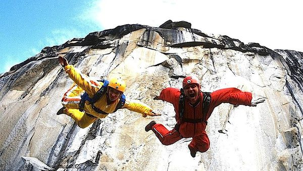 Jean Boenish and BASE jumping pioneer Carl Boenish in Marah Strauch's soaring Sunshine Superman