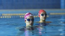 "Jenny with Flavia (Chiara Romano): ""I spent a lot of time with the girls who do synchronized swimming."""
