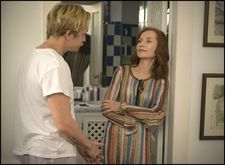 "Paul (Jérémie Renier) with Frankie (Isabelle Huppert): ""The way she doesn't want to leave money to her own son. All of this is quite harsh."""