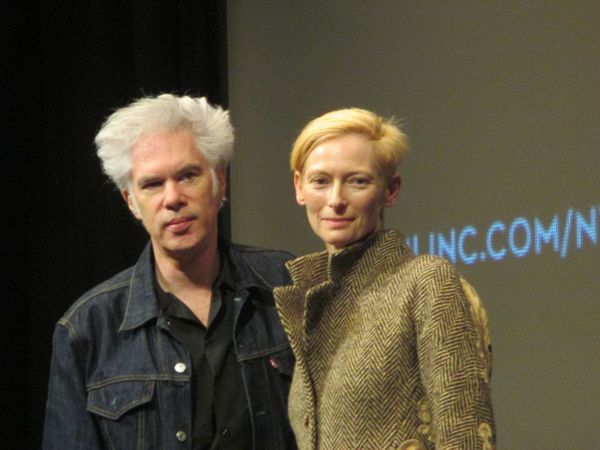 Jim Jarmusch with his Only Lovers Left Alive star Tilda Swinton at the 51st New York Film Festival