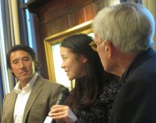 Free Solo and Meru directors Jimmy Chin and Elizabeth Chai Vasarhelyi with Tom Brokaw at 21 Club