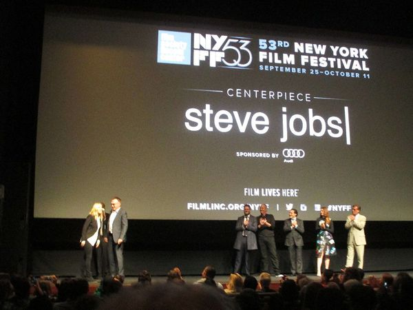Steve Jobs director Danny Boyle with Kate Winslet, Seth Rogen, Jeff Daniels, Michael Stuhlbarg, Perla Haney-Jardine and Aaron Sorkin