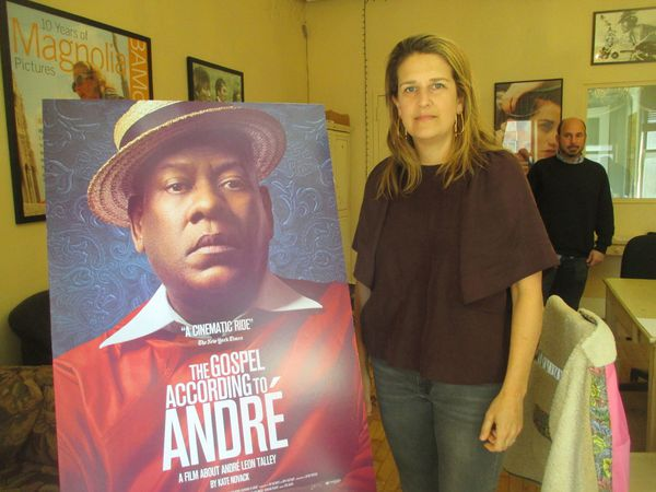 "At Magnolia Pictures, ‪The Gospel According To André‬ director Kate Novack with Andrew Rossi on André Leon Talley: ""He is a great storyteller."""