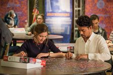 "Agnes (Kelly Macdonald) with Robert (Irrfan Khan): "" By the end she is wearing a beautiful blouse, a black top with some red floral around it, and she's becoming much more self-aware ..."""