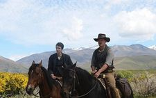"Kodi Smit-McPhee (Jay) with Michael Fassbender (Silas) on his horse Ziggy: ""Sometimes when he was around other horses or people he would be uneasy…"""