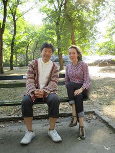 "Hirokazu Kore-eda with Anne-Katrin Titze in Central Park: Lily Franky  ""liked wearing check, plaid."""