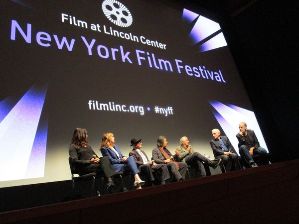 The Irishman producers Emma Tillinger Koskoff and Jane Rosenthal with Joe Pesci, Al Pacino, Robert De Niro, Martin Scorsese, and New York Film Festival Director Kent Jones at the press conference inside Alice Tully Hall