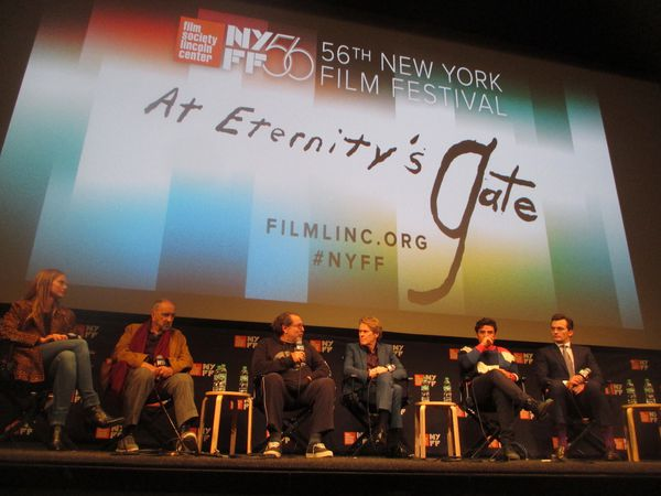 At Eternity's Gate with Louise Kugelberg, Jean-Claude Carrière, Julian Schnabel, Willem Dafoe, Oscar Isaac, and Rupert Friend at the 56th New York Film Festival