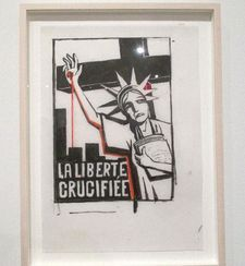 Liberté Crucifiée, January 9, 2015 - Tomi Ungerer drawing in response to the January 7, 2015 attack on Charlie Hebdo.