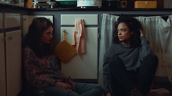 Lily James as Deb and Tessa Thompson as Ollie in Little Woods