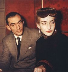 "Maria Callas with Luchino Visconti who directed her in La Traviata at La Scala: ""She would always try to find the human part in each of her roles."""