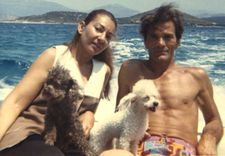 "Maria Callas with her poodles and Pier Paolo Pasolini who directed her in Medea: ""In her letters she used to call them 'my babies'."""