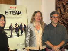 Producer Marilyn Ness with E-Team directors Katy Chevigny and Ross Kauffman