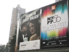 "Christopher Maltman and Isabel Leonard in Marnie and the 56th New York Film Festival billboard - ""Drama in every breath"""