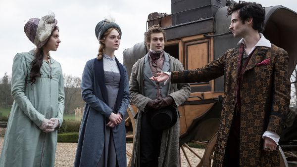 Bel Powley as Claire Clairmont, Elle Fanning as Mary Shelley, Douglas Booth Percy Shelley, and Tom Sturridge as Lord Byron in Mary Shelley