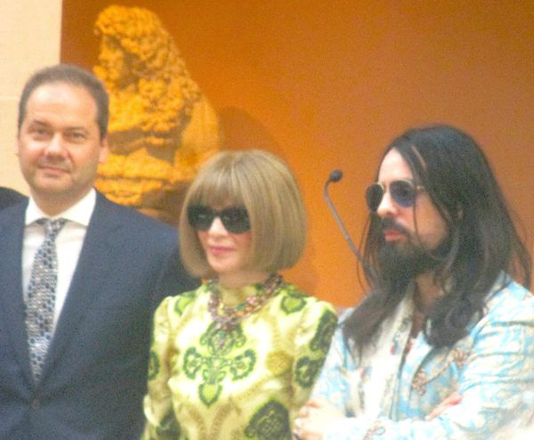 The Metropolitan Museum of Art Director Max Hollein with Camp: Notes On Fashion Co-Chairs Vogue Editor-in-Chief Anna Wintour, and Gucci Creative Director Alessandro Michele at the press preview