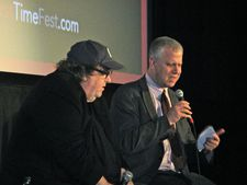 "Michael Moore with David Schwartz at First Time Fest on Kevin Rafferty: ""He showed me how to make a movie."""