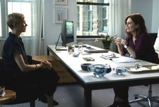 "Isabel (Michelle Williams) in Theresa's (Julianne Moore) office: ""The only thing that I was interested in is this idea that no matter how much money - no one is escaping this moment Julianne's character has."""