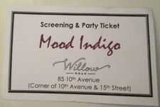 Invitation to Mood Indigo after party at Willow Road
