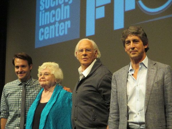 National Board of Review Best Supporting Actor Will Forte, June Squib, and Best Actor Bruce Dern, with Nebraska director Alexander Payne.