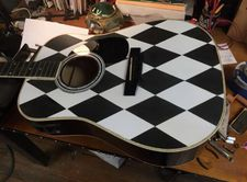 The Harlequin pattern on the Paterson guitar by Cindy Hulej