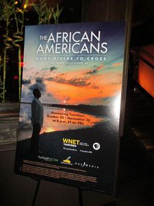 The African Americans: Many Rivers To Cross poster at TAO afterparty in New York