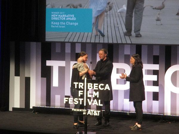 Rachel Israel takes home two with baby Charlotte for Keep the Change - The Founders Award for Best Narrative Feature and Best New Narrative Director presented by Michael Pitt and Clea Duvall
