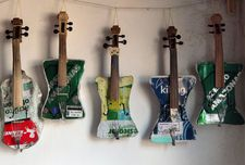 Instruments of the Recycled Orchestra of Cateura built by Colá Gomez