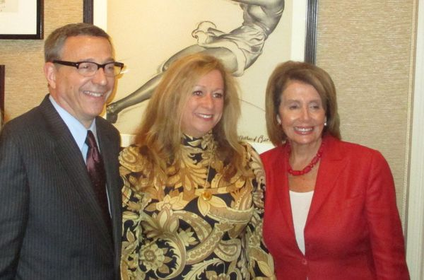 Reverend Rob Schenck, The Armor of Light director Abigail Disney with US Congresswoman Nancy Pelosi