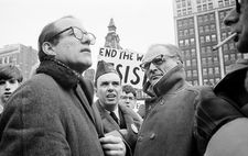 Arthur Miller with Reverend William Sloane Coffin and Steve Minot at a 1968 anti-Vietnam War rally in New Haven, Connecticut