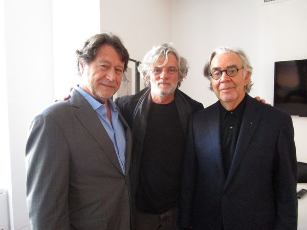 The Song Of Names producer Robert Lantos with director François Girard and composer Howard Shore at Sony in New York