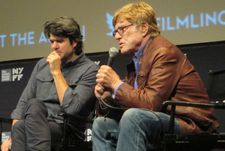 Robert Redford with All is Lost director JC Chandor at the 51st New York Film Festival