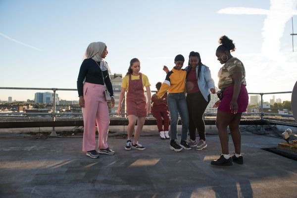 Bukky Bakray as Rocks (blue denim) with her crew in the film. Sarah Gavron: 'I had a whole support structure in terms of harnessing that energy but I definitely lost my voice more than I've ever lost my voice on a shoot before'