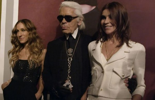 Sarah Jessica Parker, Karl Lagerfeld, Carine Roitfeld at the opening of Karl Lagerfeld's Little Black Jacket Book & Exhibition by Chanel in Tokyo