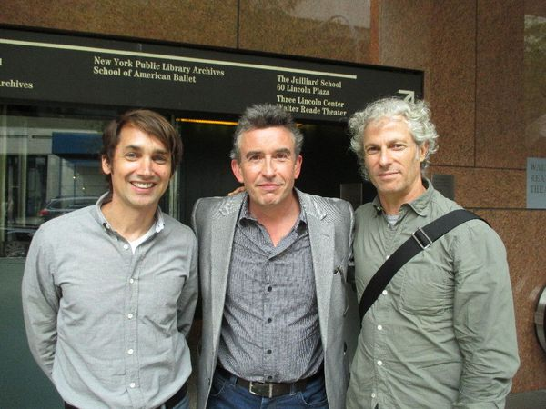 Scott McGehee and David Siegel with their What Maisie Knew star Steve Coogan after the press conference for Alan Partridge.