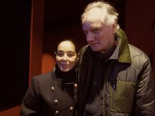 Women Without Men and Looking for Oum Kulthum director Shirin Neshat with 99 Records founder Ed Bahlman at the Quad Cinema